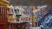 Reading, PA, 15th and Muhlenburg Streets. sunrise, snowy morning Berks Co.,
