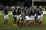 The London Scottish team gather themselves during the Green King IPA Championship match between London Scottish &amp; Worcester at Richmond, Greater London on 20th December 2014<br /> <br /> Photo: Ken Sparks | UK Sports Pics Ltd<br /> London Scottish v Worcester, Green King IPA Championship, 20th December 2014<br /> <br /> &copy; UK Sports Pics Ltd. FA Accredited. Football League Licence No:  FL14/15/P5700.Football Conference Licence No: PCONF 051/14 Tel +44(0)7968 045353. email ken@uksportspics.co.uk, 7 Leslie Park Road, East Croydon, Surrey CR0 6TN. Credit UK Sports Pics Ltd