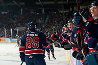 REGINA, SK - MAY 25: Brady Pouteau #28 of Regina Pats celebrates a goal against the Hamilton Bulldogs at the Brandt Centre on May 25, 2018 in Regina, Canada. (Photo by Marissa Baecker/CHL Images)