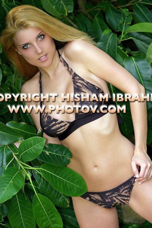 Sexy Blonde woman in bikini, Negril, Jamaica