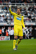 Newcastle United Tim Krul celebrates Newcastles Goal during the Barclays Premier League match between Newcastle United and Chelsea at St. James's Park, Newcastle, England on 26 September 2015. Photo by Craig McAllister.