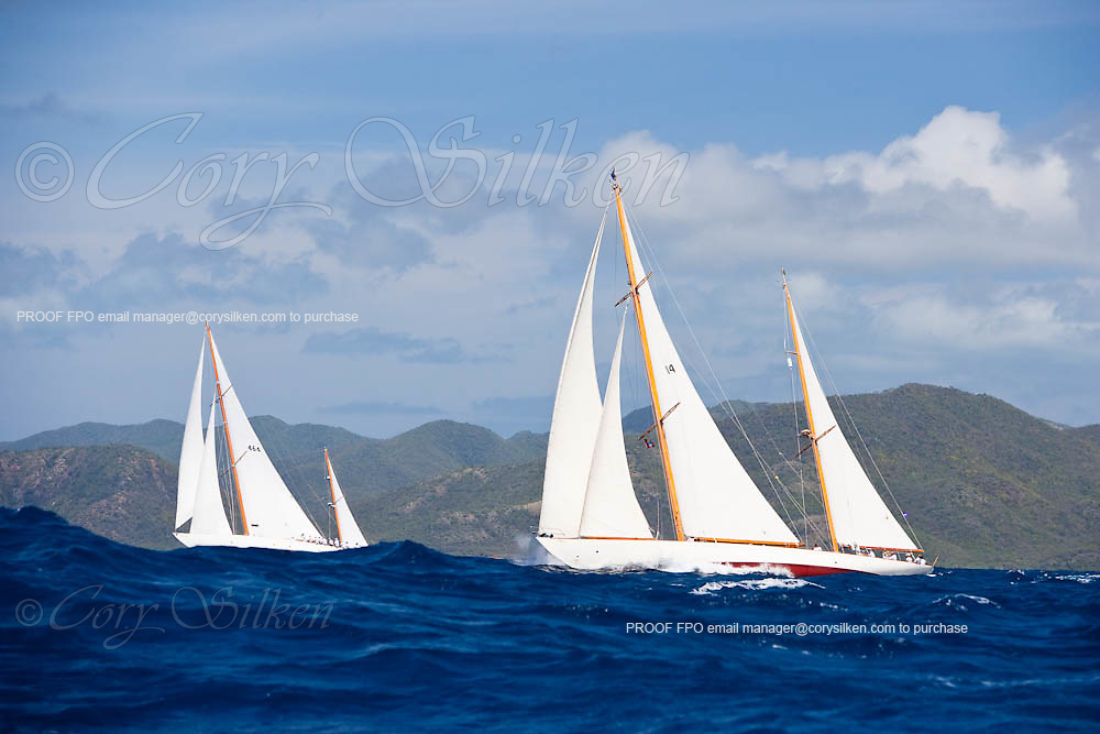 Mariella and Sumurun sailing in the 2010 Antigua Classic Yacht Regatta, Windward Race, day 4.