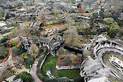 High angle view of the Zoo from the Grand Rocher (Great Rock), with the Big Cat House at bottom right, Parc Zoologique de Paris, or Zoo de Vincennes, (Zoological Gardens of Paris, also known as Vincennes Zoo), 1934, by Charles Letrosne, 12th arrondissement, Paris, France, pictured on November 19, 2010, in the afternoon. In November 2008 the 15 hectare Zoo, part of the Museum National d'Histoire Naturelle (National Museum of Natural History) closed its doors to the public and renovation works will start in September 2011. The Zoo is scheduled to re-open in April 2014. Picture by Manuel Cohen.