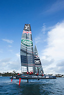 Image licensed to Lloyd Images <br /> The Louis Vuitton Americas Cup World Series. Bermuda. Pictures of the LandRover BAR team skippered by Ben Ainslie (GBR) with local &quot;Optimist &quot; sailor Mika in action on their AC45f foiling catamaran during practice racing today<br /> <br /> Credit: Lloyd Images
