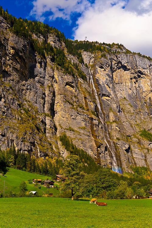 Sefinen Waterfall near Stechelberg in the Lauterbrunnen Valley, Canton Bern, Switzerland