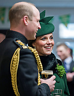 17.03.2018,Hounslow; UK: KATE MIDDLETON STICKS TO WATER<br />While Prince William plumps for a pint of Guinness to celebrate St. Patrick&rsquo;s Day, Kate who is eight months pregnant stuck yto a glass of water.<br />The Duke and Duchess of Cambridge were attending the 1st Battalion Irish Guards&rsquo; St. Patrick's Day Parade at Cavalry Barracks, Hounslow <br />Mandatory Credit Photo: MoD/NEWSPIX INTERNATIONAL<br /><br />IMMEDIATE CONFIRMATION OF USAGE REQUIRED:<br />Newspix International, 31 Chinnery Hill, Bishop's Stortford, ENGLAND CM23 3PS<br />Tel:+441279 324672  ; Fax: +441279656877<br />Mobile:  07775681153<br />e-mail: info@newspixinternational.co.uk<br />*All fees payable to Newspix International*