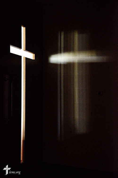 Light shines through a cross in a door of Lutheran Church of St. John, Quincy, Ill., on Sunday, June 11, 2017. LCMS Communications/Erik M. Lunsford