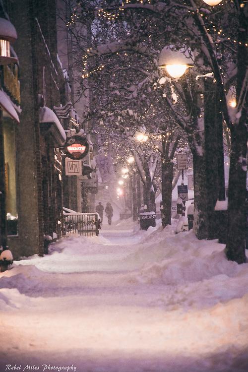 Snowy Traverse City Michigan Evening