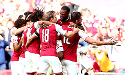 Arsenal celebrate winning the Community Shield after Olivier Giroud of Arsenal scores the winning penalty in a shootout against Chelsea - Mandatory by-line: Robbie Stephenson/JMP - 06/08/2017 - FOOTBALL - Wembley Stadium - London, England - Arsenal v Chelsea - FA Community Shield
