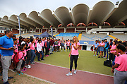 Mar 10, 2018; Cape town, South Africa; Natasha Hastings, 2 time Olympic medal winner, speaks to the athletes during the TrackGirlz events at University of Western Cape on March 10, 2018 in Cape Town, South Africa. (Roger Sedres/Image of Sport)