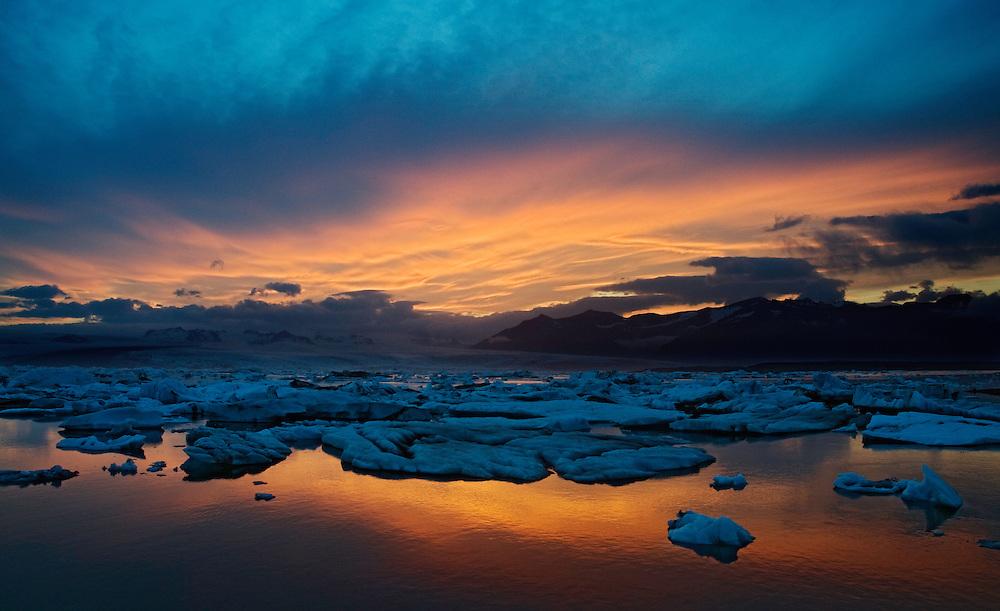 12.06.2008.Jökulsárlón glacial lagoon at sunset.Vatnajökull ice cap.Iceland