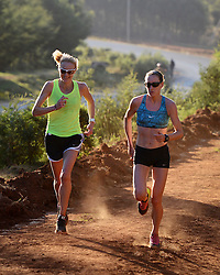 © London News Pictures. 01/02/2014. Virgin Money London Marathon 2014 preview. Iten, Kenya.  British athlete Paula Radcliffe (left) in action on the day that she publicly announces that she will compete in one more marathon, before her racing retirement.  Photo by Mike King/London Marathon/LNP