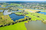 Nederland, Gelderland, Arnhem, 30-09-2015; zicht op de uiterwaarden van Meinerswijk. In het kader van het programma Ruimte voor de Rivier zijn delen van de uiterwaard afgegraven. Ook is het gebied opnieuw ingericht.<br /> View of floodplains and polder Meinerswijk, Arnhem to the right. The area has partly been excavated to create 'space for the river'.<br /> <br /> luchtfoto (toeslag op standard tarieven);<br /> aerial photo (additional fee required);<br /> copyright foto/photo Siebe Swart
