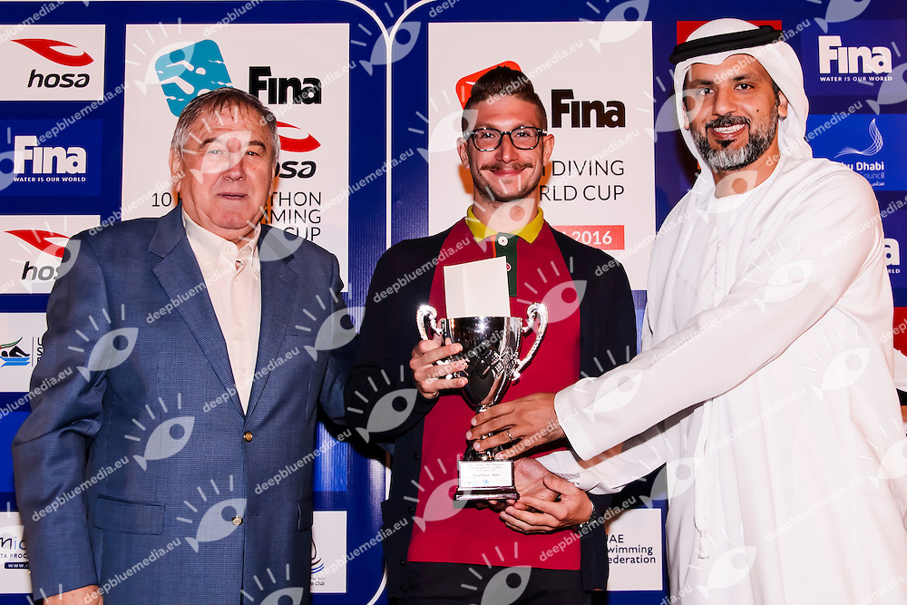 (From L to R)<br /> Cornell Marculescu FINA<br /> Simone Ruffini ITA Italy<br /> Gala Dinner<br /> FINA/HOSA 10 Km Marathon Swimming World Cup  2016<br /> Khalideya Palace<br /> Day1  26 Feb.2016<br /> Photo G.Scala/Insidefoto/Deepbluemedia