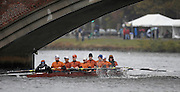 Cambridge, USA, Collegiate Men's Eights, Texas crew, approaching  the John Weeks footbridge during the  2009 Head of the Charles  Sunday  18/10/2009  [Mandatory Credit Peter Spurrier Intersport Images],.