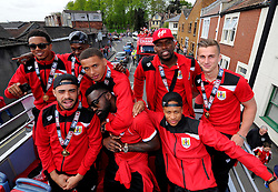 Bristol City players on the top deck of the open top bus tour- Photo mandatory by-line: Joe Meredith/JMP - Mobile: 07966 386802 - 04/05/2015 - SPORT - Football - Bristol -  - Bristol City Celebration Tour