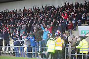Dundee fans celebrate Peter MacDonald's winner - Dumbarton v Dundee  - SPFL Championship at the Bet Butler Stadium<br /> <br />  - &copy; David Young - www.davidyoungphoto.co.uk - email: davidyoungphoto@gmail.com