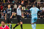 EINDHOVEN, PSV - ADO Den Haag, voetbal Eredivisie, seizoen 2013-2014, 22-12-2013, Philips Stadion, scheidsrechter Tom van Sichem (M) geeft de rode kaart aan ADO Den Haag keeper Gino Coutinho (R).