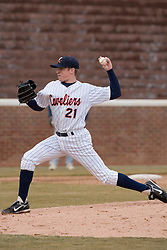 Virginia Cavaliers pitcher/firstbaseman Sean Doolittle (21) pitches against GWU.  The Virginia Cavaliers Baseball Team defeated the George Washington University Colonials 11-0 in the first of a three game series on February 17, 2007 at Davenport Field, Charlottesville, VA.