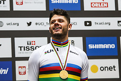 March 1, 2019 - Pruszkow, Poland - Quentin Lafargue of France celebrates on the podium after winning the gold medal in the Mens 1 km time trial on day three of the UCI Track Cycling World Championships held in the BGZ BNP Paribas Velodrome Arena on March 01, 2019 in Pruszkow, Poland. (Credit Image: © Foto Olimpik/NurPhoto via ZUMA Press)