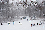 Children having fun in the snow on a slope in the Ramble of Central Park.
