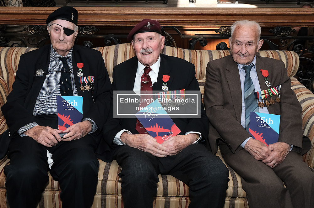 D-Day 75th anniversary, Edinburgh, Friday 6th June 2019<br /> <br /> A service to commemorate the 75th anniversary of the D-Day<br /> landings was organised by Armed Forces charity Legion<br /> Scotland and The French Consulate General.<br /> <br /> It was attended by 15 D-Day veterans, 4 of whom received the Knight of the Légion d'Honneur Cross, serving personnel, various dignitaries and Graeme Dey, the Scottish Government's Minister for Parliamentary Business and<br /> Veterans.<br /> <br /> Pictured:  David Livingston (97, Royal Navy, right), Eric Tandy (95, 7th Para, centre) and Leonard Humphries (94, Signals, left)<br /> <br /> Alex Todd | Edinburgh Elite media