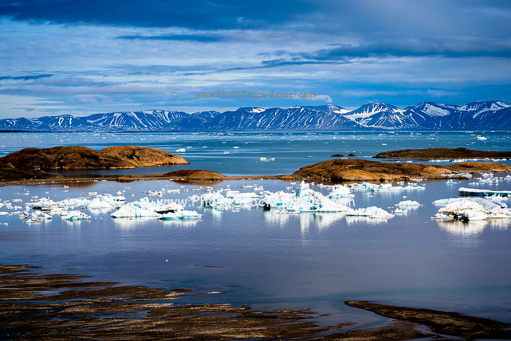 Mountain and snowy sea view,  July in Spitzbergen, Norway