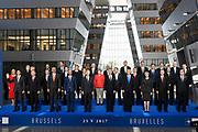 Meeting of NATO Heads of State and/or Government<br /> Brussels, Belgium -  Official portrait in the Agora<br /> <br /> On the photo:  (Front row from L) Canadian Prime Minister Justin Trudeau, Bulgaria's President Rumen Radev, Albanian Prime Minister Edi Rama, Belgian Prime Minister Charles Michel, King Philippe of Belgium, NATO Secretary General Jens Stoltenberg, US President Donald Trump, Britain's Prime Minister Theresa May, Turkish President Recep Tayyip Erdogan, Spanish Prime Minister Mariano Rajoy, (second row from L) Croatian President Kolinda Grabar-Kitarovic, Czech President Milos Zeman, Danish Prime Minister Lars Lokke Rasmussen, Estonia's Prime Minister Juri Ratas, French President Emmanuel Macron, German Chancellor Angela Merkel, Greek Prime Minister Alexis Tsipras, Hungary's Prime Minister Viktor Orban, Iceland's Prime Minister Bjarni Benediktsson, Italian Prime Minister Paolo Gentiloni, Latvia's President Raimonds Vejonis, (third row from L) Lituania's President Dalia Grybauskaite, Luxembourg's Prime Minister Xavier Bettel, Dutch Prime Minister Mark Rutte, Norway's Prime Minister Erna Solberg, Polish President Andrzej Duda, Portuguese Prime Minister Antonio Costa, Romanian President Klaus Werner Iohannis, Slovakia's President Andrej Kiska, Slovenian Prime Minister Miro Cerar and Montenegro's Prime Minister Dusko Markovic pose for a family picture during the NATO (North Atlantic Treaty Organization)