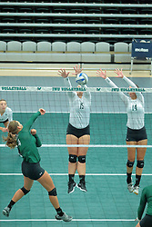 26 August 2017:  Jessica McCall, Emily Gutzwiler & Heidi Dague during the green-white scrimmage of the Illinois Wesleyan Titans in Shirk Center, Bloomington IL