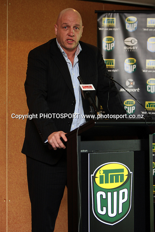 NZRU General Manager of Provincial and Community Rugby Brent Anderson, ITM Cup Trophy and Season launch. 2010 ITM Cup provincial rugby union competition. North Harbour Stadium, Albany, Auckland. 23 July 2010. Photo: William Booth/PHOTOSPORT
