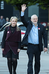 © Licensed to London News Pictures . 05/05/2017. Manchester, UK.  REBECCA LONG-BAILEY and Labour Party Leader JEREMY CORBYN arrive in Manchester following Andy Burnham's victory in the Manchester Metro mayoralty campaign , for a Momentum Rally on the steps of the Manchester Convention Centre . Andy Burnham did not attend . Photo credit: Joel Goodman/LNP