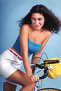 Fashion Model --Primary colors on bicycle. 1981