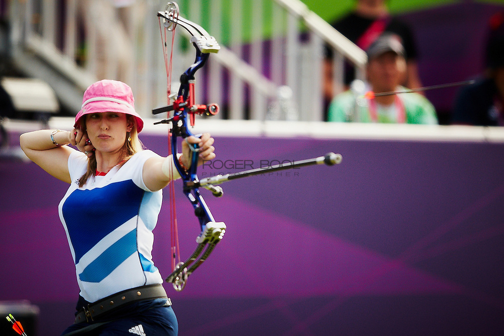 Danielle Brown of Great Britain against Mariana Lyzhnikova of Russia in the Archery Women's Individual Compound - Open Semifinals at the Royal Artillary Barracks on day six of the London 2012 Paralympic Games. 4th September 2012...