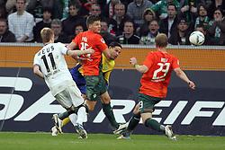 19.11.2011, BorussiaPark, Mönchengladbach, GER, 1.FBL, Borussia Mönchengladbach vs SV Werder Bremen, im BildTor zum 3:0 von Marco Reuss (Mönchengladbach #11). gegen Tim Wiese (Torwart Bremen), Sebastian Prödl/ Proedl (Bremen #15) und Andreas Wolf (Bremen #23) // during the 1.FBL, Borussia Mönchengladbach vs Werder Bremen on 2011/11/19, BorussiaPark, Mönchengladbach, Germany. EXPA Pictures © 2011, PhotoCredit: EXPA/ nph/ Mueller..***** ATTENTION - OUT OF GER, CRO *****