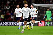 Roberto Firmino (9) of Liverpool on the attack during the Premier League match between Bournemouth and Liverpool at the Vitality Stadium, Bournemouth, England on 7 December 2019.