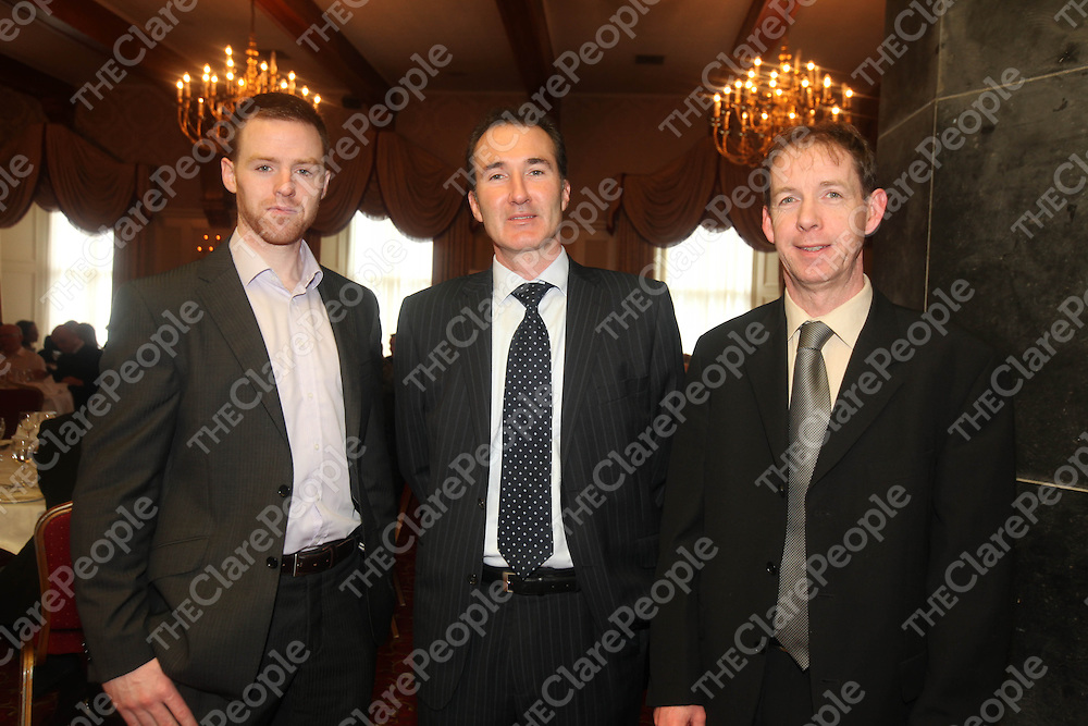 NiallChandler, ean O Kelly and Donnie Neylon pictured at the Ennis Chamber Dinner in the Old Ground Ennis on Friday.<br /> Pic. Brian Arthur/ Press 22.