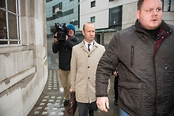 © Licensed to London News Pictures. 21/01/2018. London, UK. UKIP party leader HENRY BOLTON is seen leaving Broadcasting House in London, flanked by a body guard,  after radio and television appearances. The Uk Independence Part NEC is due to meet today to discuss Henry Bolton's leadership following a number of unfavourable stories about Bolton's private life.  Photo credit: Ben Cawthra/LNP