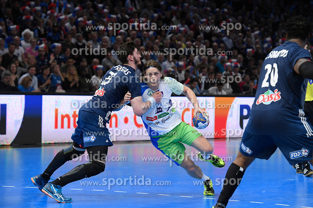 Dolenec Jure and Fabregas Ludovic during 25th IHF men's world championship 2017 match between France and Slovenia at Accord hotel Arena on january 24 2017 in Paris. France. PHOTO: CHRISTOPHE SAIDI / SIPA / Sportida