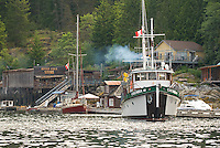 MV Columbia III departing from Refuge Cove in the Discovery Islands, near Desolation Sound.  British Columbia, Canada.
