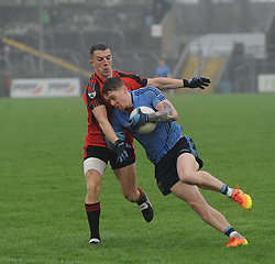 Westport Phil Keegan tries to get past Kenmare&rsquo;s Mark Crowley during the All Ireland Club semi-final.<br />