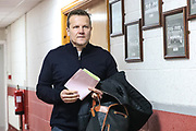 Forest Green Rovers manager, Mark Cooper arrives at the ground during the EFL Sky Bet League 2 match between Crewe Alexandra and Forest Green Rovers at Alexandra Stadium, Crewe, England on 27 April 2019.
