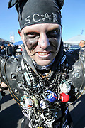 Dec 3, 2017; Oakland, CA, USA; Scar (Arien Beierle) prior to  an NFL game between the New York Giants and the Oakland Raiders at Oakland-Alameda County Coliseum.