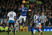 James McCarthy (Everton) heads the ball during the Barclays Premier League match between Everton and Newcastle United at Goodison Park, Liverpool, England on 3 February 2016. Photo by Mark P Doherty.