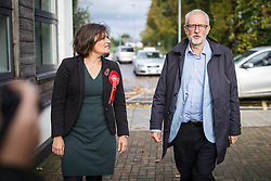 © Licensed to London News Pictures. 02/11/2019. Swindon, UK. Labour Party Leader Jeremy Corbyn (R) and Labour Prospective Parliament Candidate for South Swindon Sarah Church (L) at Commonweal Sixth Form College in Swindon for a campaign rally ahead of the general election on 12 December. Photo credit: Rob Pinney/LNP