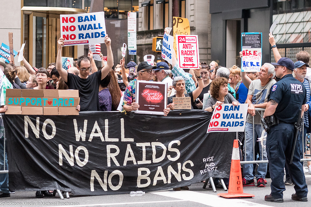 Protests at Trump Tower in New York City, NY on August 15, 2017.