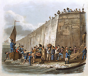 Arriving at Calais', Aquatint, London, 1816. Travellers from England landing in France with their luggage, some of it wet, and climbing up the steps to the quay.