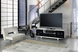 Large screen TV room with modern furniture