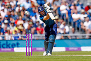 England ODI wicket keeper Jos Butler punches one through for a boundary  during the 5th One Day International match between England and Australia at Old Trafford, Manchester, England on 24 June 2018. Picture by Simon Davies.