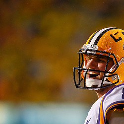 Sep 21, 2013; Baton Rouge, LA, USA; LSU Tigers quarterback Zach Mettenberger (8) celebrates a touchdown against the Auburn Tigers during the first half of a game at Tiger Stadium. Mandatory Credit: Derick E. Hingle-USA TODAY Sports