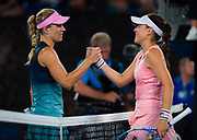 Angelique Kerber of Germany and Kimberly Birrell of Australia at the net after their third-round match at the 2019 Australian Open Grand Slam tennis tournament on January 18, 2019 at Melbourne Park in Melbourne, Australia - Photo Rob Prange / Spain ProSportsImages / DPPI / ProSportsImages / DPPI